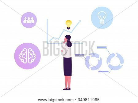 Thoughtful Business Woman With Glowing Light Bulb Over Head Stand At Growing Arrow Chart Analysing S