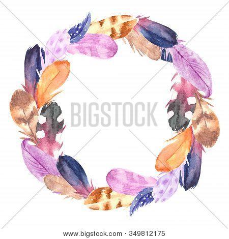 Hand Drawn Watercolor Boho Feather Wreath. Boho Style Feathers, Isolated Illustration On White Backg