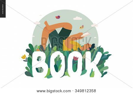 World Book Day Graphics, Grass -book Week Events. Modern Flat Vector Concept Illustrations Of Readin