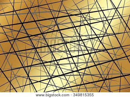 Black Chaotic Lines, Random Chaotic Lines, Scattered Lines, Gold Luxury Lines Asymmetrical Texture V