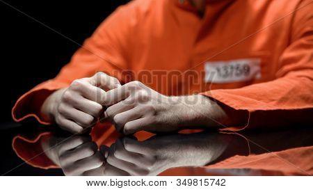 Arrested Person Hands Closeup, Prisoner Talking To Lawyer During Interrogation