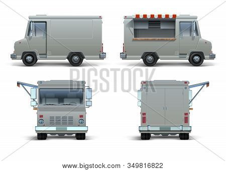Food Truck Mockup. Realistic Delivery Car Or Mobile Kitchen With Open Window For Brand Identity. Vec
