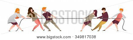 Pull Rope. Cartoon Group Of People Compete In Contest, Workers Teams And Office Persons Pulling Oppo