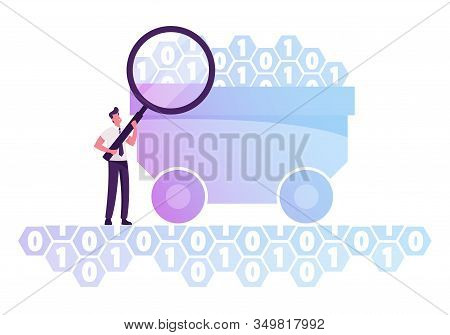 Businessman With Huge Magnifying Glass Stand At Trolley With Binary Code Digits. Research Of Useful