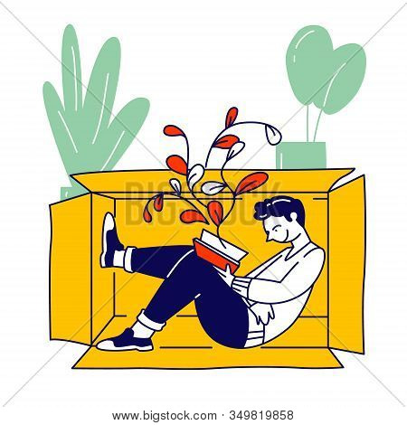 Social Anxiety Concept. Lonely Introvert Man Sitting Inside Of Box Reading Book. Mental Health, Psyc