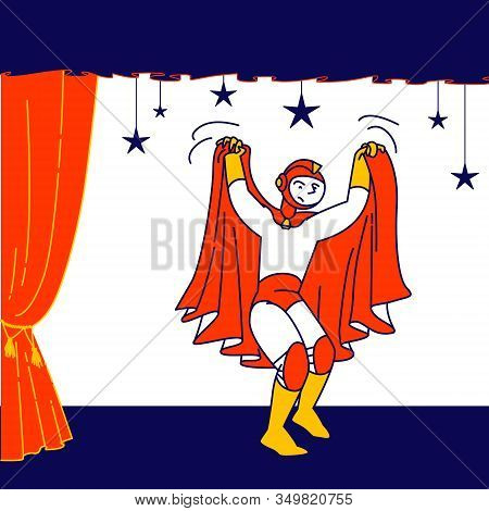 Talent Show Spectacle. Schoolboy Wear Superhero Personage Costume And Red Cloak Playing Role At Kids