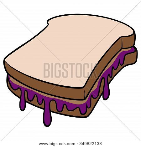 Peanut Butter And Jelly - A Cartoon Illustration Of A Peanut Butter And Jelly Sandwich.