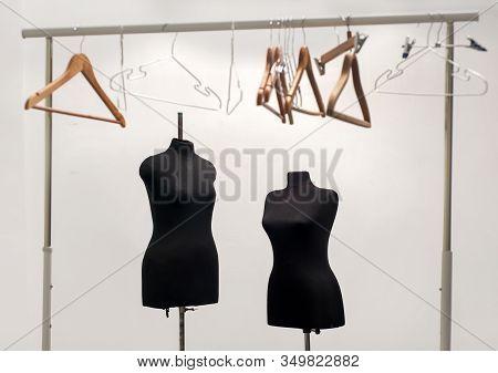 Mannequins, Clothes Hanger, Couturier Studio, Dressmaker Atelier With Mannequin And Clothes Hangers,