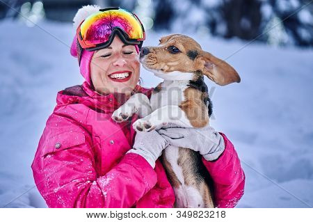 Woman In Sportswear Playing With A Puppy Dog On The Snow In A Winter Cloudy Evening.