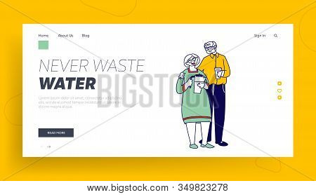 Pensioners Loving Relation And Healthy Lifestyle Website Landing Page. Happy Loving Senior Couple Ho