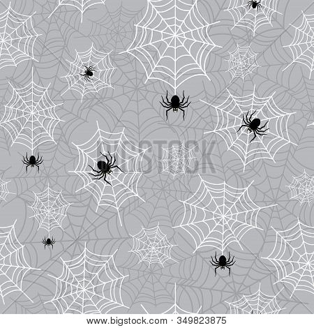 Hanging Spider And Cobweb Halloween Seamless Pattern. Creepy Background Repeat Pattern For October H