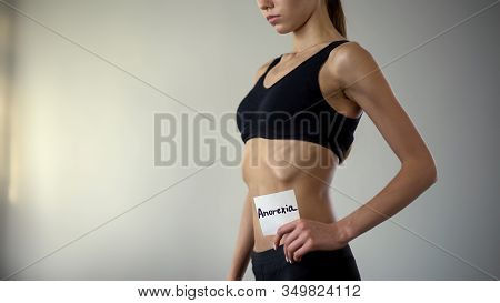 Skinny Girl Holding Anorexia Note, Sick Woman Needs Help, Bulimia, Exhaustion