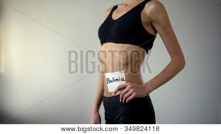 Skinny Girl Holding Bulimia Note, Exhausted Body Needs Help, Eating Disorder
