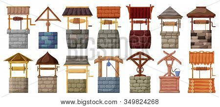 Water Well Vector Cartoon Set Icon.vector Illustration Wooden And Stones Wellspring On White Backgro