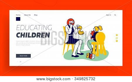 Logopedy Clinic Medical Help To Kids Website Landing Page. Doctor Logopedist Practicing With Girl Ha