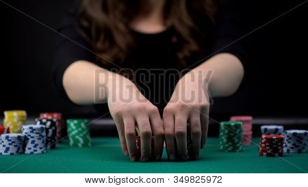 Beautiful Woman Betting All Casino Chips, Risky Poker Tournament, Gambling