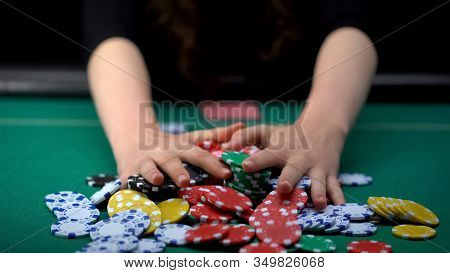 Female Poker Player Betting All Casino Chips, Believe In Success, Risky Strategy