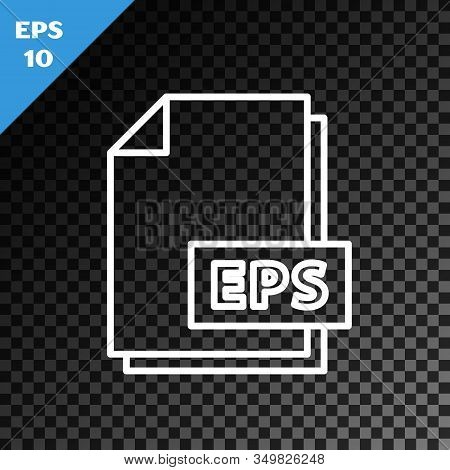 White Line Eps File Document. Download Eps Button Icon Isolated On Transparent Dark Background. Eps