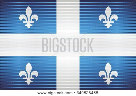 Shiny Grunge Flag Of The Quebec - Illustration,  Three Dimensional Flag Of Quebec