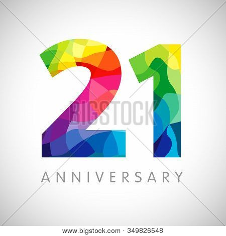 21 St Anniversary Numbers. 21 Years Old Logotype. Bright Congrats. Isolated Abstract Graphic Web Des