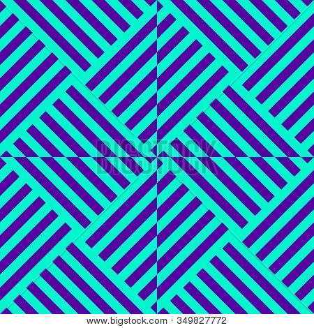 Vector Linear Geometric Seamless Pattern. Purple And Turquoise Color. Op Art
