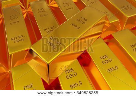Single Gold Ingot On Rows Of Shiny Gold Ingots Or Bars Background - Essential Electronics Production