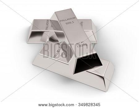 Three Shiny Palladium Ingots Or Bars Over White Background - Precious Metal Or Money Investment Conc