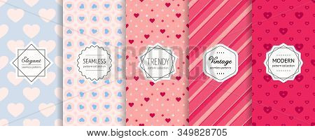 Vector Valentines Day Seamless Patterns Collection. Set Of Colorful Geometric Background Swatches Wi