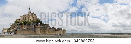 Mont Saint-michel, Normandy, France - July 3, 2017: Panoramic View Of Island Fortress Commune Mont S