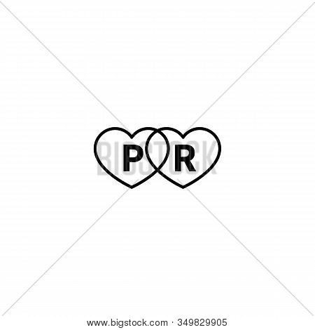 Pr Agency Logo With Hearts, Public Relations Black And White Vector Icon