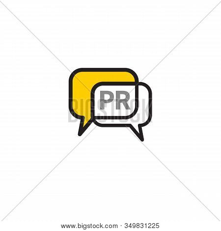 Pr Agency Icon With Comments Bubbles, Public Relations Icon, Yellow Vector Sign