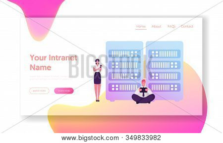 Intranet Connection For Information Browsing And Research Website Landing Page. Businesspeople With