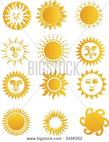 2D Abstract vector illustration. Yellow funny suns poster