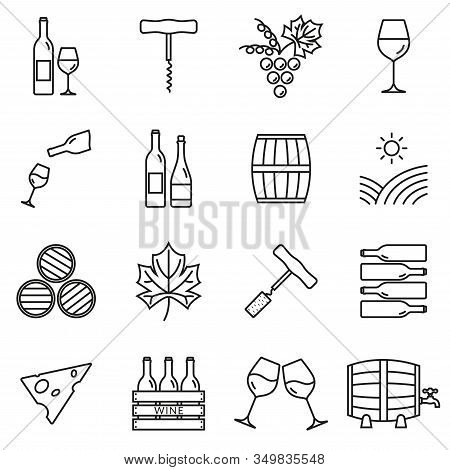 Wine Outline Icon Set. Winery Elements Collection With Grapes, Wine Glass And Bottle, Corkscrew, Bar