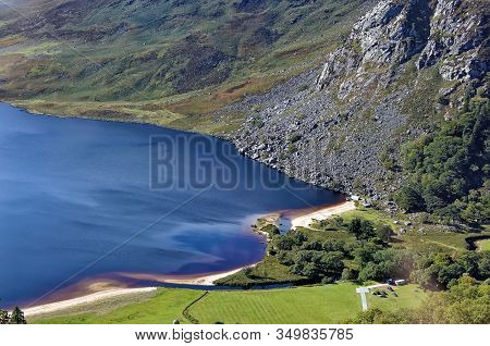 Part Of Lough Tay Dark Lake Top View At Wicklow Ireland