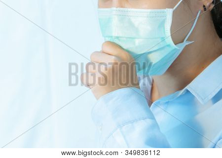Woman Cough With Face Mask Protection, Coronavirus, Air Pollution, Allergic Sick Woman With Medical