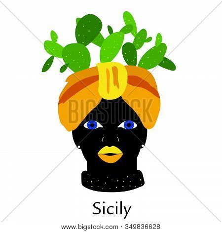 Traditional Sicilian Vase With Moor Head And Cacti. Moorish, Woman Face. Italy, Sicily. Vector Illus
