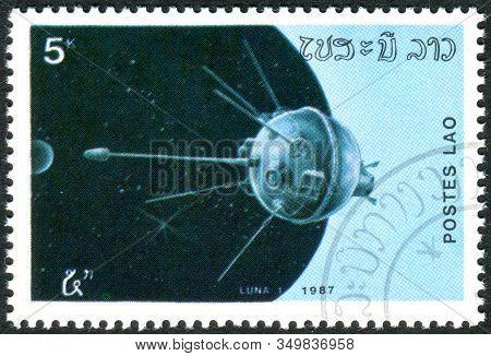 Laos - Circa 1987: A Stamp Printed In Laos, Depicting Soviet Spacecraft