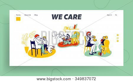 Logopedic Treatment Session And Speech Therapy Website Landing Page. Friendly Woman Logopedist Artic
