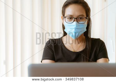 Woman With Face Mask Protection While Working, Coronavirus, Air Pollution, Allergy Sick Woman With M