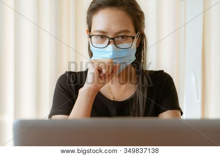 Woman Cough With Face Mask Protection While Working, Coronavirus, Air Pollution, Allergy Sick Woman