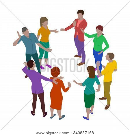 Four Women And Four Men Talk Emotionally While Standing In A Circle. Group Of People In Isometric Vi