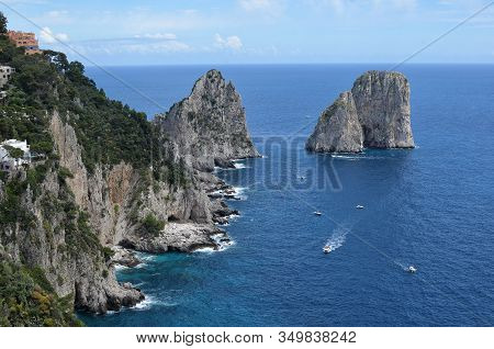 Rocks In The Water And Nature Capri Island In Italy Photo
