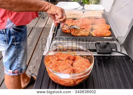 Barbecue Grill Bbq On Coal Charcoal Grill With Steaks Bratwurst Sausages And Meat Delicious Summer M