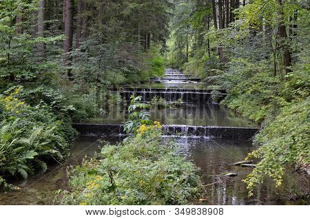 Small Cascade Water River In The Forest Nature Photo
