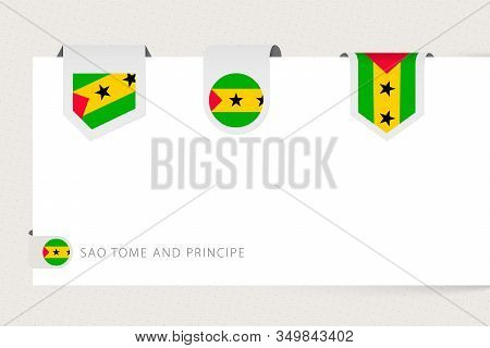 Label Flag Collection Of Sao Tome And Principe In Different Shape. Ribbon Flag Template Of Sao Tome