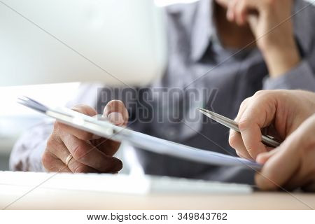 Business Registration, Accompanying Documents. Employee Gives Signature Document To Boss. Visualizat