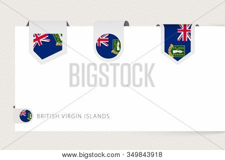 Label Flag Collection Of British Islands In Different Shape. Ribbon Flag Template Of British Virgin