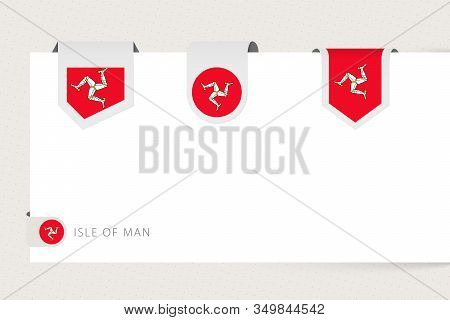 Label Flag Collection Of Isle Of Man In Different Shape. Ribbon Flag Template Of Isle Of Man Hanging
