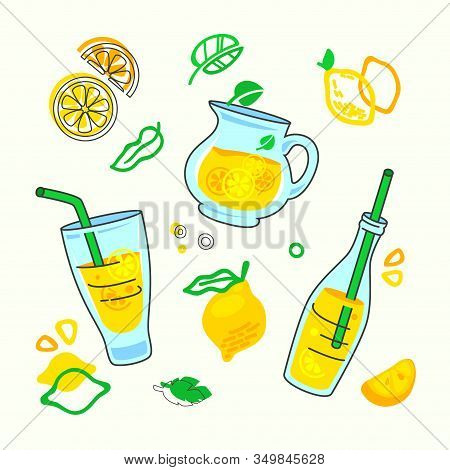 Homemade Lemonade Drink Print With Different Design Elements In Doodle Style, Bottle With Juice And